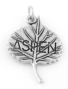 STERLING SILVER ASPEN LEAF CHARM/PENDANT