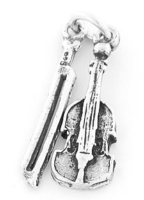 STERLING SILVER VIOLIN AND BOW CHARM/PENDANT