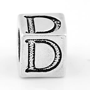 STERLING SILVER BLOCK LETTER INITIAL D CUBE CHARM