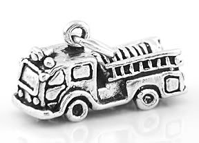 STERLING SILVER FIRE TRUCK 3D CHARM/PENDANT