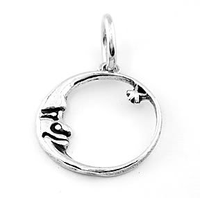 STERLING SILVER CRESCENT MOON FACING STAR CIRCLE CHARM/PENDANT