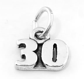 STERLING SILVER NUMBER 30 CHARM/PENDANT