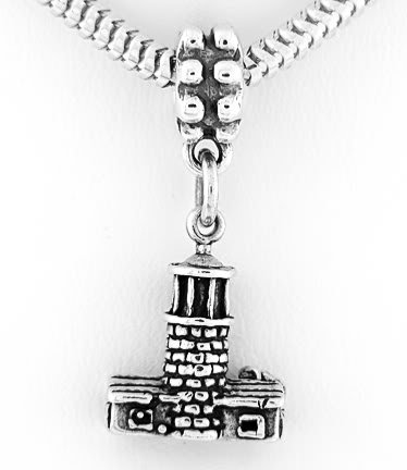 STERLING SILVER DANGLING 3D LIGHTHOUSE EUROPEAN BEAD