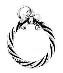 STERLING SILVER CHRISTMAS WREATH W/ BOW CHARM/PENDANT
