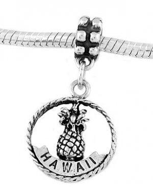 STERLING SILVER DANGLE HAWAII ALOHA PINEAPPLE EUROPEAN BEAD