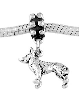 STERLING SILVER DANGLE SLED DOG - HUSKY DOG EUROPEAN BEAD