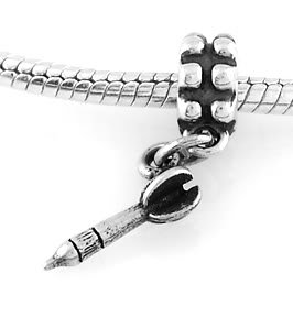 STERLING SILVER DANGLING 3D DART EUROPEAN BEAD