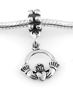 STERLING SILVER DANGLE IRISH CLADDAGH RING EUROPEAN BEAD
