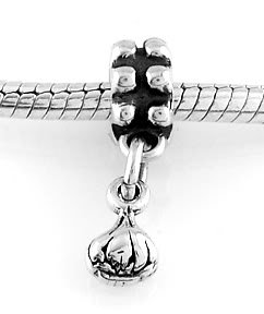 STERLING SILVER DANGLING 3D GARLIC BULB EUROPEAN BEAD