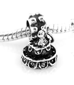 STERLING SILVER DANGLE BRIDE GROOM WEDDING CAKE EUROPEAN BEAD