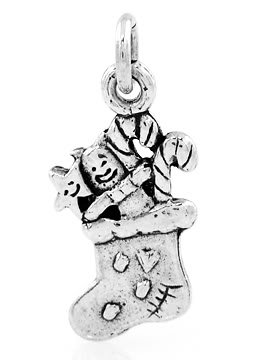 STERLING SILVER CHRISTMAS STOCKING CHARM/PENDANT
