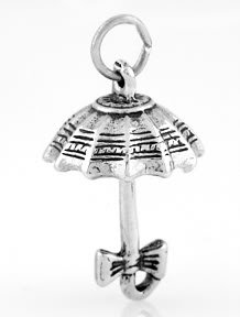 STERLING SILVER MARY POPPINS STYLE OPEN UMBRELLA CHARM/PENDANT