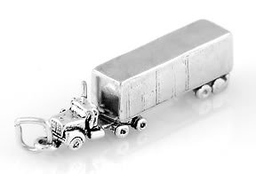 STERLING SILVER SEMI TRUCK (SOLID) CHARM/PENDANT