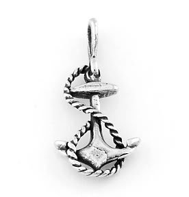 STERLING SILVER FAITH ANCHOR WITH ROPE CHARM/PENDANT