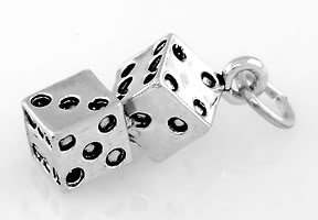 STERLING SILVER PAIR OF DICE CHARM/PENDANT