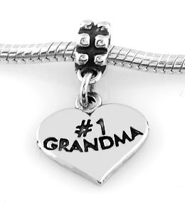 STERLING SILVER DANGLE #1 GRANDMA HEART EUROPEAN BEAD
