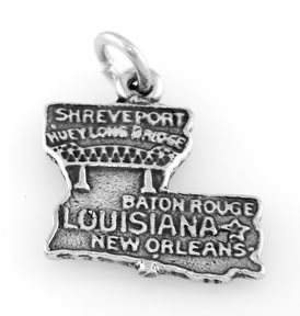 STERLING SILVER STATE OF LOUISIANA CHARM/PENDANT