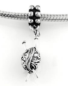 STERLING SILVER DANGLE YARN AND NEEDLES EUROPEAN BEAD