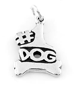 STERLING SILVER #1 DOG WITH BONE CHARM/PENDANT