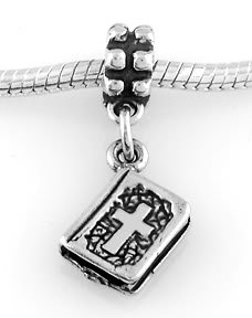 STERLING SILVER DANGLE 2 SIDED HOLY BIBLE EUROPEAN BEAD