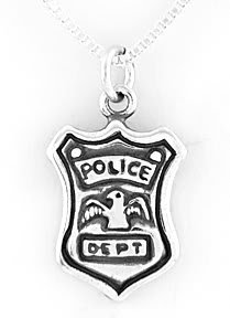"""STERLING SILVER POLICE BADGE CHARM WITH 16"""" NECKLACE"""