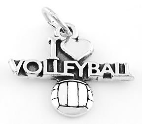 STERLING SILVER I LOVE VOLLEYBALL CHARM/PENDANT