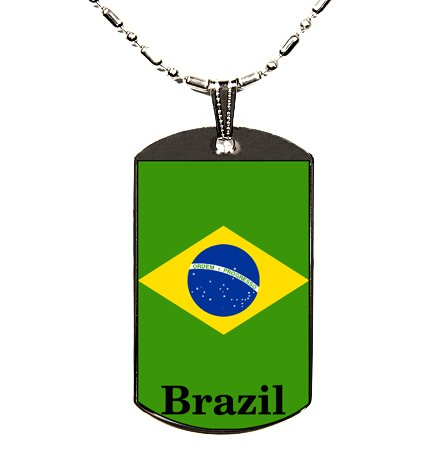 Brazil Flag Polymer Glazed Dog Tag