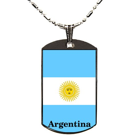 Argentina Flag Polymer Glazed Dog Tag