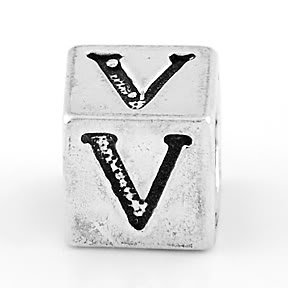 STERLING SILVER BLOCK LETTER INITIAL V CUBE CHARM