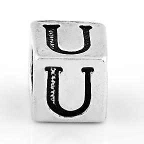 STERLING SILVER BLOCK LETTER INITIAL U CUBE CHARM