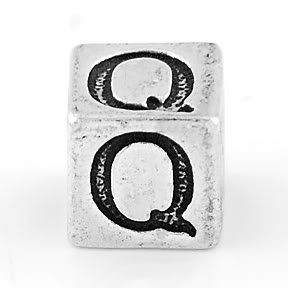 STERLING SILVER BLOCK LETTER INITIAL Q CUBE CHARM