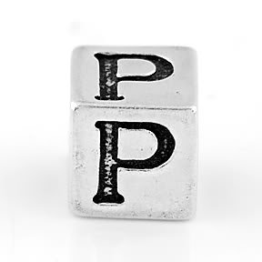 STERLING SILVER BLOCK LETTER INITIAL P CUBE CHARM