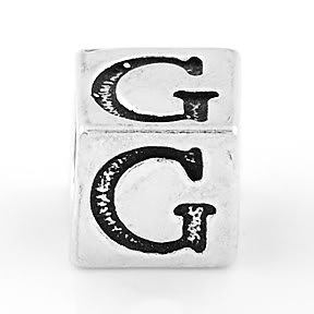 STERLING SILVER BLOCK LETTER INITIAL G CUBE CHARM