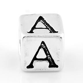 STERLING SILVER BLOCK LETTER INITIAL A CUBE CHARM