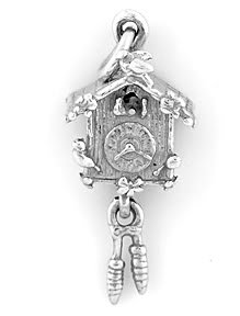 STERLING SILVER CUCKOO CLOCK CHARM/PENDANT