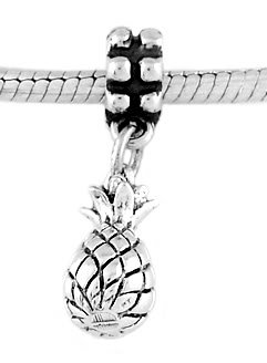 STERLING SILVER DANGLE TROPICAL PLANT PINEAPPLE EUROPEAN  BEAD