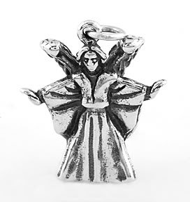 STERLING SILVER ANGEL WITH WINGS 3D CHARM/PENDANT
