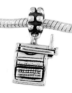 STERLING SILVER DANGLE TYPEWRITER EUROPEAN  BEAD