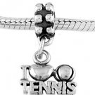 STERLING SILVER DANGLE I LOVE TENNIS EUROPEAN  BEAD