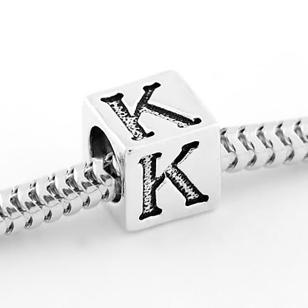 STERLING SILVER CUBE ALPHABET INITIAL K CUBE BEAD