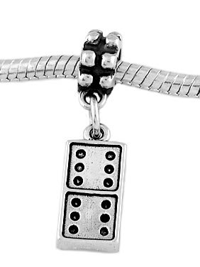 STERLING SILVER DANGLE DOMINO GAME PIECE EUROPEAN  BEAD