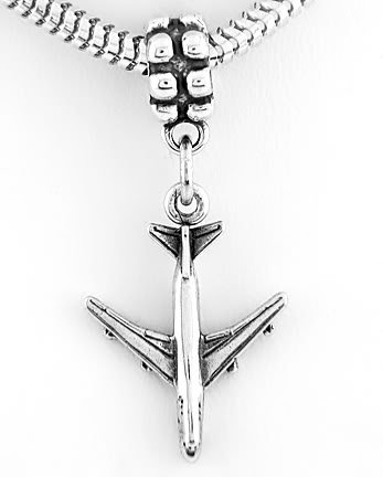 STERLING SILVER DANGLE 747 AIRPLANE/PILOT EUROPEAN BEAD