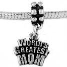STERLING SILVER DANGLE WORLD'S GREATEST MOM EUROPEAN  BEAD