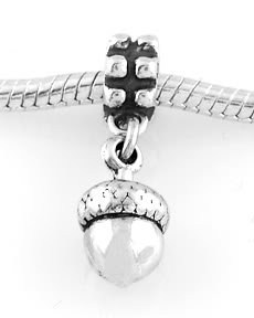 STERLING SILVER DANGLING ACORN EUROPEAN BEAD
