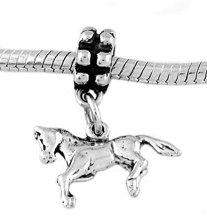 STERLING SILVER DANGLE PRANCING PONY- HORSE EUROPEAN BEAD