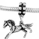 STERLING SILVER DANGLE GALLOPING PONY- HORSE EUROPEAN BEAD