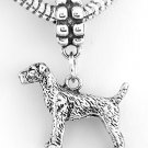 STERLING SILVER DANGLING AIREDALE DOG EUROPEAN BEAD