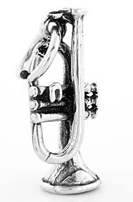 STERLING SILVER TRUMPET CHARM/PENDANT