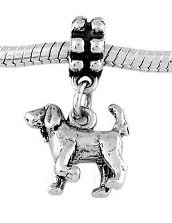 STERLING SILVER DANGLE BLOODHOUND DOG EUROPEAN  BEAD