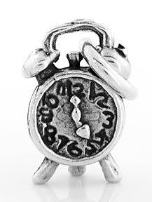 STERLING SILVER ALARM CLOCK CHARM/PENDANT